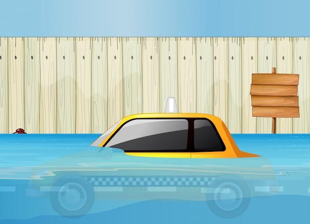 Taksówka w błyskawicznej powodzi