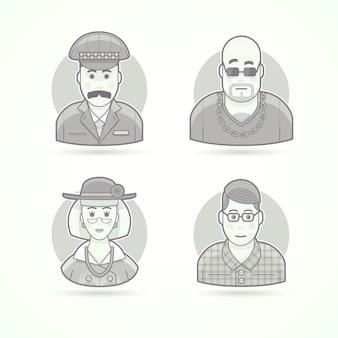 Taksówkarz, bramkarz w nocnym klubie, elegancka staruszka, kujon, sprytny młody człowiek. zestaw ilustracji postaci, awatarów i osób. czarno-biały styl konturowy.