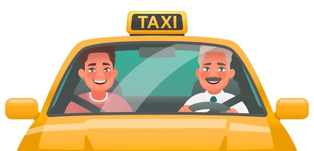 Taksówkarz człowiek i pasażer jeździć żółtym samochodem. zamawianie usług taksówkowych online za pośrednictwem aplikacji. ilustracja wektorowa w stylu kreskówki