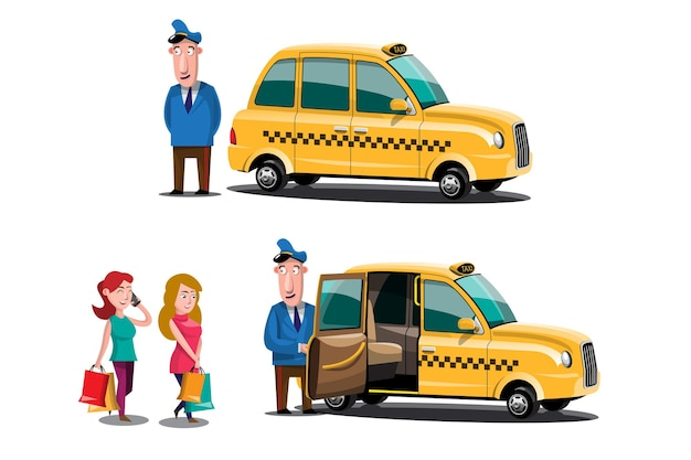 Taksówkarz i klienci taksówki usługi