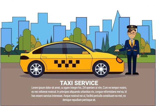Taksówkarz stoi na żółtym samochodzie nad sylwetką miasta