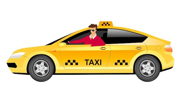 Taksówkarz w płaski kolor samochodu bez twarzy. uśmiechnięty mężczyzna siedzi w żółtym sedanie ilustracja kreskówka na białym tle do projektowania grafiki internetowej i animacji. usługa dostarczania taksówek.