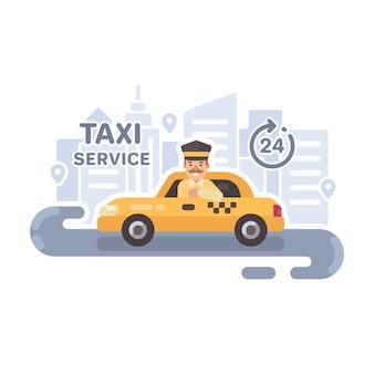 Taksówkarz w samochodzie.