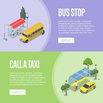 Taksówki i autobus szkolny izometryczne plakaty 3d