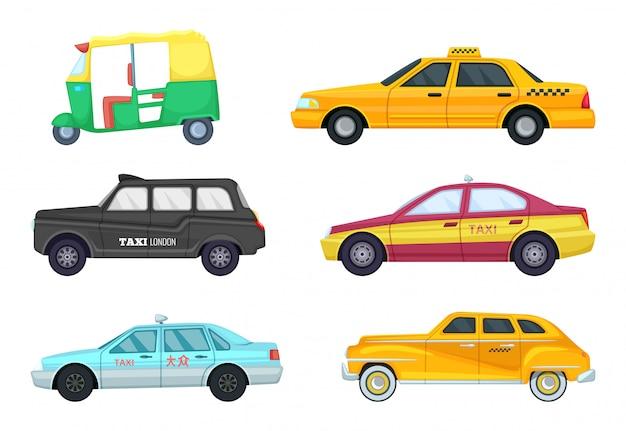 Taksówki w różnych miastach. transport do szybkiego podróżowania.