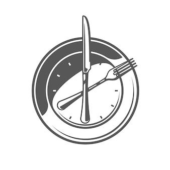 Talerz, widelec i nóż na białym tle. symbol gotowania, logo i godło. ilustracja