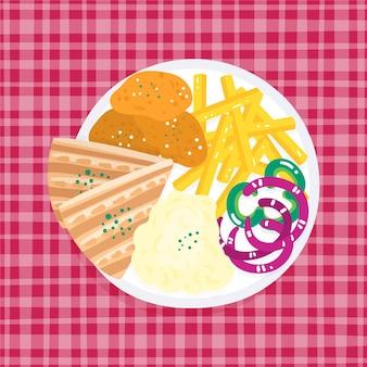 Talerz z frytkami i kanapkami