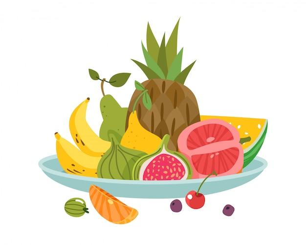 Talerz z owocami. obiadowa miska danie owoce obiad pyszne diety zdrowie świeże apetyczny
