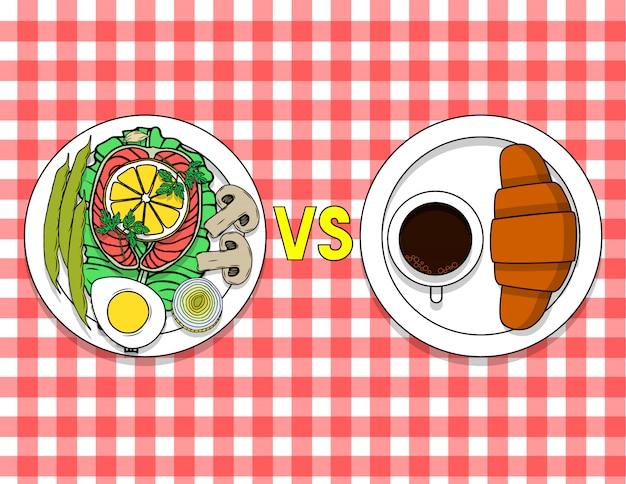 Talerz z żywnością organiczną i talerz z rogalikiem i kawą na stole