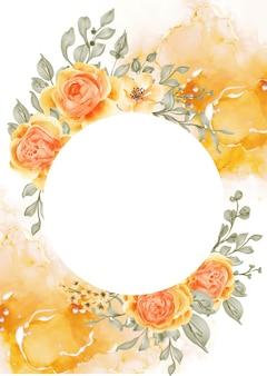 Talitha rose flower frame background z białym kółkiem, różowo-pomarańczowy żółty