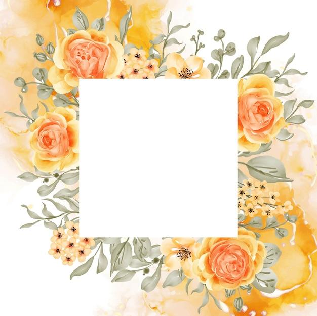 Talitha róża żółto-pomarańczowe tło ramki kwiatowej z białą przestrzenią kwadratową