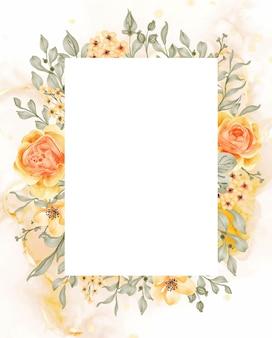 Talitha różowo-żółto-pomarańczowe tło ramki kwiatowej z białym prostokątem