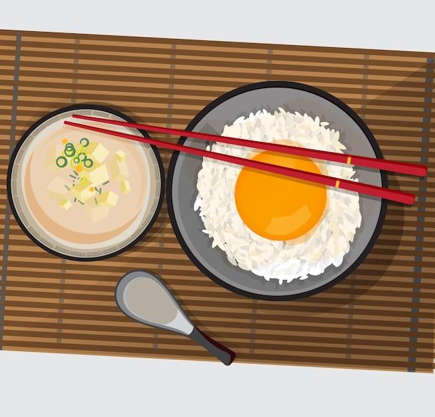 Tamago kake gohan, ryż z surowym jajkiem i zupa miso z tofu
