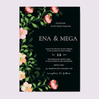 Tamplate piękny kwiatowy zaproszenie na ślub
