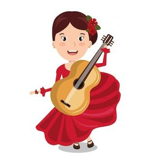 Tancerka flamenco z gitara ikona na białym tle projekt