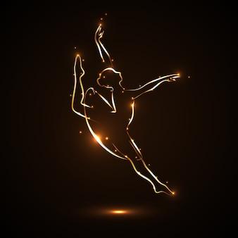 Tancerz tańczy z wdziękiem. sylwetka baletnicy w skoku w ruchu. spektakl teatralny. abstrakcyjny obraz baletnicy o złotym konturze z jasnymi odblaskami na ciemnym, czarnym tle.