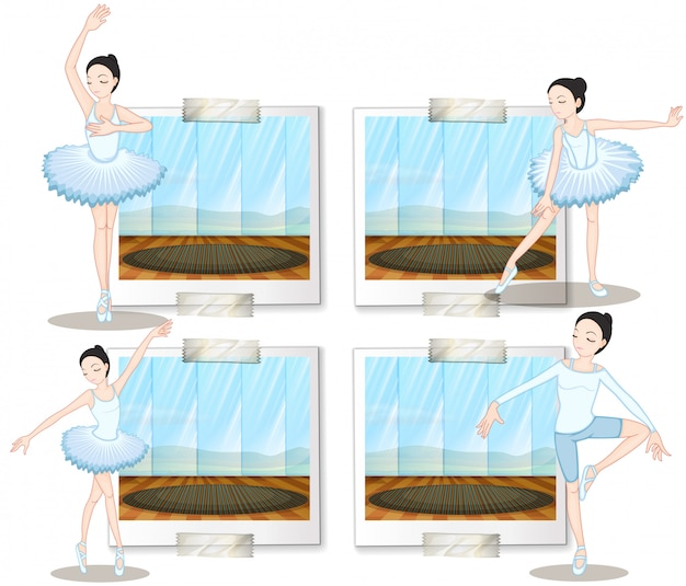Tancerze baletowi tańczą i rozciągają się