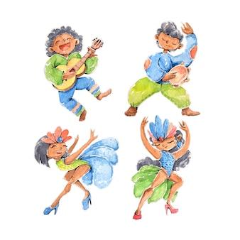 Tancerze i muzycy brazylijski karnawał
