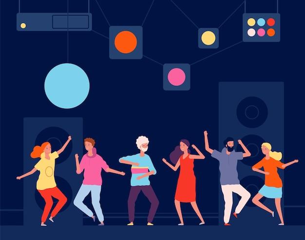 Tancerze klubów nocnych. młodzi szczęśliwi ludzie bawią się w koncepcji życia nocnego sal tanecznych.