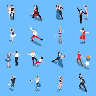 Tancerze profesjonalni wykonawcy izometryczni ludzie