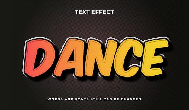 Tańcz kreatywny edytowalny efekt tekstowy 3d. elegancki styl tekstu