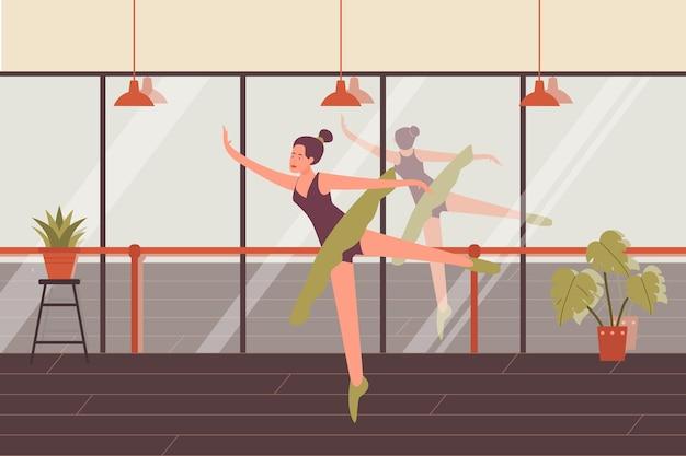 Tańcząca kobieta baletnica stawia choreografię szkoły tańca