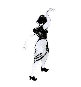 Tańcząca kobieta rysunek tuszem czarno-biała ilustracja elegancka poza dziewczyna retro swing tancerz