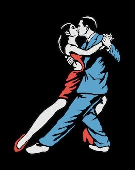 Tańcząca para ilustracji