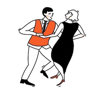Tańcząca para. kobieta w eleganckiej czarnej sukni i mężczyźni w czerwonej kamizelce. huśtawka ilustracja, taniec towarzyski wektor zarys sztuki.
