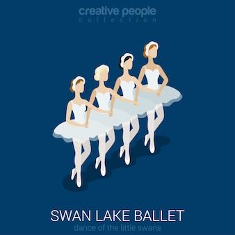 Tańczące baleriny balet z jeziora łabędziego taniec małych łabędzi płaskich izometrycznych.