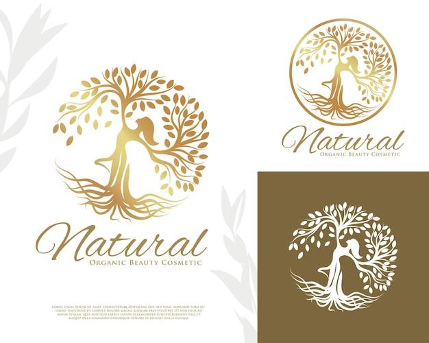 Tańczące drzewo kobieta złoty szablon logo