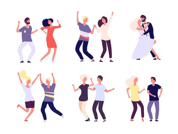 Tańczące pary. szczęśliwe osoby tańczą salsę, tango dorośli kobieta mężczyzna tancerze w miłości. imprezowa zabawa z postaciami z kreskówek
