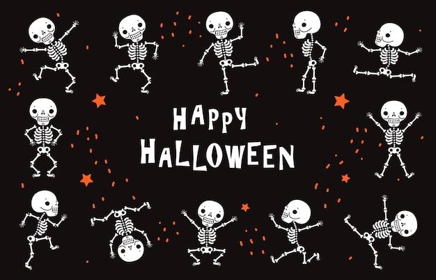 Tańczące szkielety. śmieszne białe ludzkie kości w tańcu. halloween wektor czarny plakat w stylu horroru