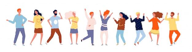 Tańczący ludzie. postacie z tłumu tańczą szczęśliwych dorosłych mężczyzn i kobiet ilustracje
