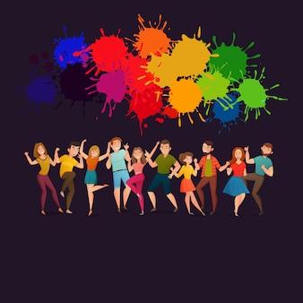 Tańczący ludzie świąteczny kolorowy plakat