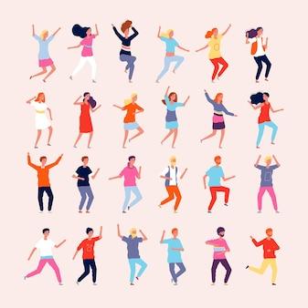 Tańczący ludzie. szczęśliwe postacie tancerzy płci męskiej i żeńskiej