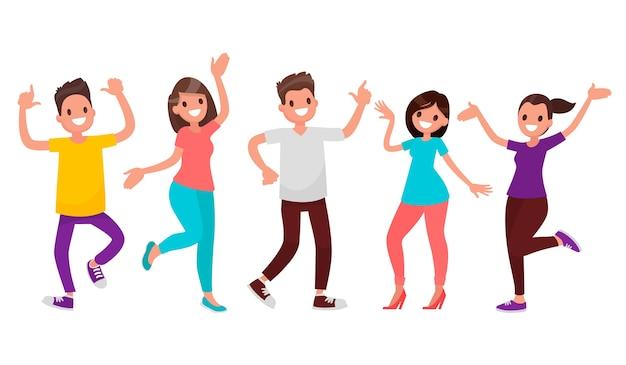 Tańczący ludzie. szczęśliwi mężczyźni i kobiety poruszają się w rytm muzyki.