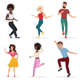 Tańczący młodzi ludzie. szczęśliwi, wieloetyczni mężczyźni i kobiety przechodzą do muzyki. płaskie ilustracji wektorowych kreskówka.