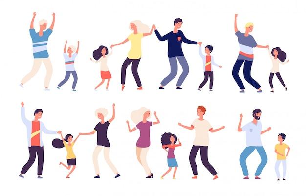 Tańczący rodzice z dziećmi. szczęśliwe dzieci tata i mama taniec rodzina kobieta mężczyzna dziecko tancerzy. bohaterowie kreskówek