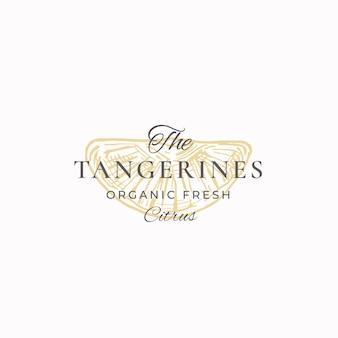 Tangerines organic fresh citrus abstract sign, symbol lub logo