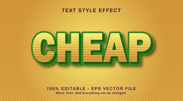 Tani 3 tekst na efekt stylu kombinacji kolorów zielonego światła, żółte tło.