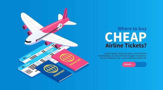 Tanie loty bilety lotnicze zarezerwuj wycieczkę online poziomy izometryczny baner internetowy z paszportem samolotu