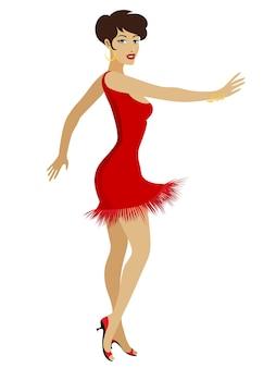 Taniec balowej dość młoda kobieta kreskówka w czerwonej seksownej sukni na białym tle