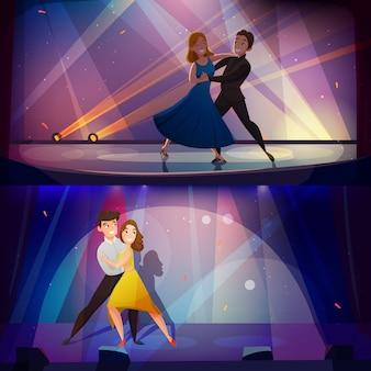 Taniec banery ustawić retro cartoon