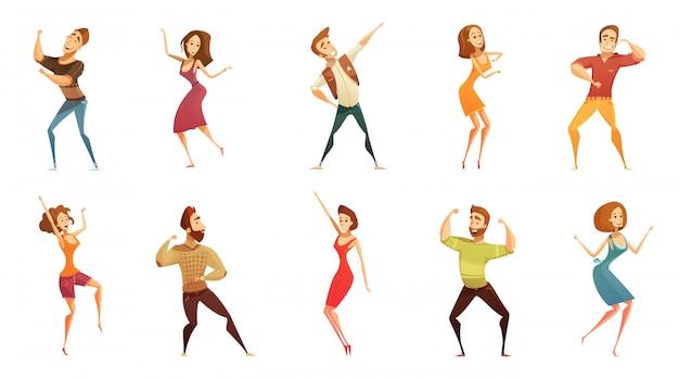 Taniec ludzi kolekcja ikon stylu cartoon z mężczyznami i kobietami w swobodnym ruchu stanowi izolat