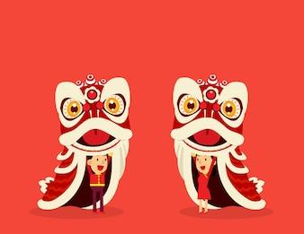 Taniec lwa chińskiego.