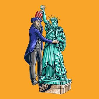 Taniec prezydenta ze statuą wolności