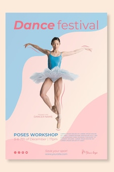 Taniec szablon plakatu festiwalu
