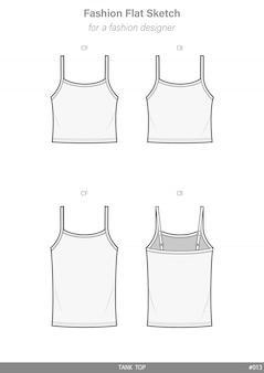 Tank top moda płaski rysunek techniczny szablon