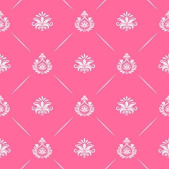 Tapeta barokowa bez szwu w kolorze różowym. wzór w stylu wiktoriańskim.